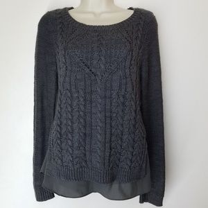 Anthropologie Moth Ella Cable Knit Sweater Gray